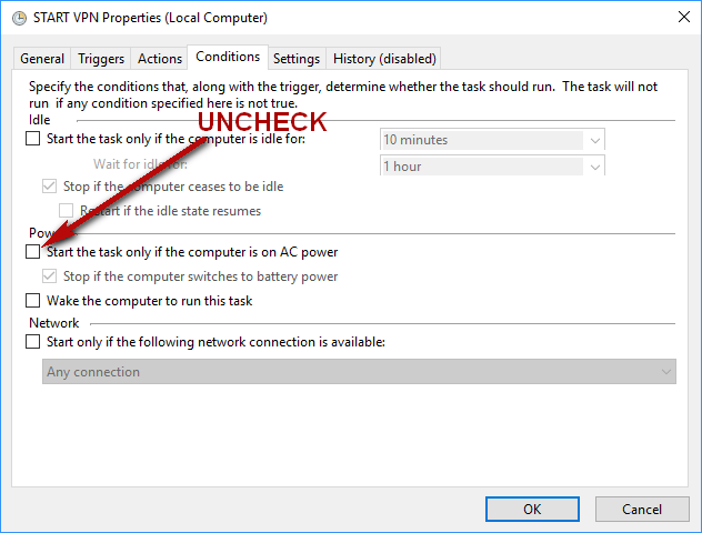 "Setup conditions: Uncheck ""Start the task only if the computer is on AC power""."