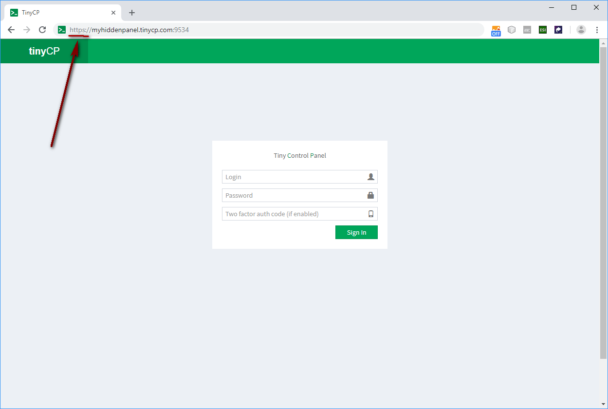 Open browser https://youhiddenpanel.domain.com:9534 Remember to add https prefix because there is no listenning on 80 or 443 port to redirect from.